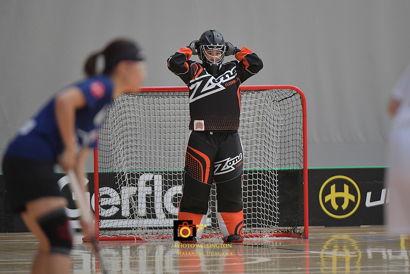 China's Han Jiang in action during the World Floorball Championships 2017 Qualification for Asia Oceania Region - Malaysia v China at ASB Sports Centre , Wellington, New Zealand on Sunday 5 February 2017.<br /> Photo by Masanori Udagawa<br /> www.photowellington.photoshelter.com.