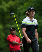 24.05.2015. Wentworth, England. BMW PGA Golf Championship. Final Round.  Tommy Fleetwood [ENG] and Thongchai Jaidee [THI] . At the 3rd tee during the final round of the 2015 BMW PGA Championship from The West Course Wentworth Golf Club