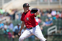 Kannapolis Intimidators relief pitcher Lane Hobbs (26) in action against the Asheville Tourists at Kannapolis Intimidators Stadium on May 7, 2017 in Kannapolis, North Carolina.  The Tourists defeated the Intimidators 4-1.  (Brian Westerholt/Four Seam Images)