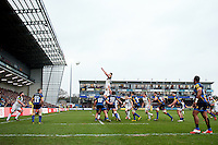 Tom Ellis of Bath Rugby rises high to win lineout ball. Aviva Premiership match, between Worcester Warriors and Bath Rugby on February 13, 2016 at Sixways Stadium in Worcester, England. Photo by: Patrick Khachfe / Onside Images