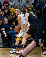 Layshia Clarendon of California in action during the game against Stanford at Haas Pavilion in Berkeley, California on January 8th, 2013.  Stanford defeated California, 62-53.
