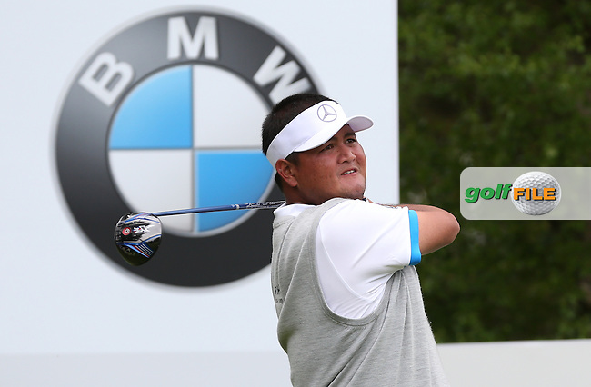 Prom Meesawat (THA) chips close from a tight lie on the 10th during Round Two of the 2015 BMW PGA Championship over the West Course at Wentworth, Virginia Water, London. 22/05/2015Picture David Lloyd, www.golffile.ie.