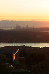 Seattle, Lake Washington, Olympic Mountains, from Bellevue, Clyde Hill, sunset, Washington State, Pacific Northwest, USA.