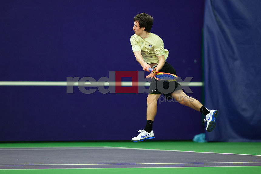Max Manthou..--------Washington Huskies men's tennis team vs. Louisville at the Nordstrom Tennis Center in Seattle on Saturday, March 3, 2012. (Photo by Dan DeLong/Red Box Pictures)