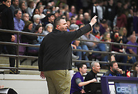 Charleston head coach Jason Rucker gestures, Friday, February 14, 2020 during a basketball game at Elkins High School in Elkins. Check out nwaonline.com/prepbball/ for today's photo gallery.<br /> (NWA Democrat-Gazette/Charlie Kaijo)