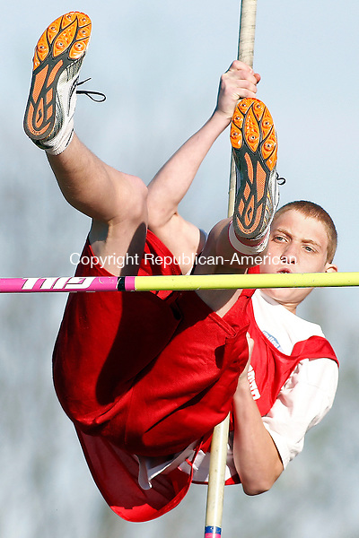 "Litchfield, CT-17 April 2012-041712CM08-  Northwestern's Erick Bailey clears 8'6"" during the pole-vault  at a track and field meet against Litchfield, Northwestern and Wolcott Tech, Tuesday afternoon at Litchfield High School.   Christopher Massa Republican-American"