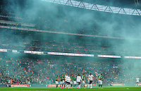 29.05.2013 London, England. Smoke blows across the pitch as England prepare to take a free kick during the International Friendly between England and Republic of Ireland from Wembley Stadium.