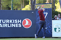 Justin Rose (ENG) tees off the 17th tee during Friday's Round 2 of the 2018 Turkish Airlines Open hosted by Regnum Carya Golf &amp; Spa Resort, Antalya, Turkey. 2nd November 2018.<br /> Picture: Eoin Clarke | Golffile<br /> <br /> <br /> All photos usage must carry mandatory copyright credit (&copy; Golffile | Eoin Clarke)