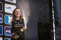Annemiek Van Vleuten (NED/Mitchelton Scott) on podium after finishing 3th place after Anna van der Breggen (NED/Boels Dotmans) and Amy Pieters (NED/Boels Dotmans).<br /> <br /> <br /> Women Elite Ronde van Vlaanderen 2018