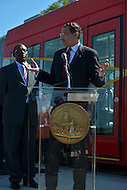May 1, 2013  (Washington, DC)  D.C. Mayor Vincent Gray speaks about the District's new streetcars during a news conference at the DDOT Anacostia facility May 1, 2013, as DDOT Director Terry Bellamy listens.   (Photo by Don Baxter/Media Images International)