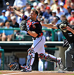 8 March 2011: Atlanta Braves catcher Brian McCann in action during a Spring Training game against the New York Yankees at Champion Park in Orlando, Florida. The Yankees edged out the Braves 5-4 in Grapefruit League action. Mandatory Credit: Ed Wolfstein Photo