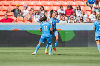 Houston, TX - Saturday May 13, Sky Blue FC forward Samantha Kerr (20) celebrates her goal with Sky Blue FC midfielder Raquel Rodriguez (11) during a regular season National Women's Soccer League (NWSL) match between the Houston Dash and Sky Blue FC at BBVA Compass Stadium. Sky Blue won the game 3-1.