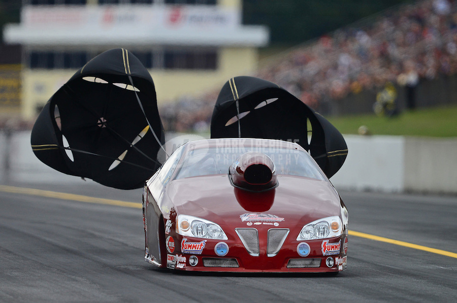 Oct. 6, 2012; Mohnton, PA, USA: NHRA pro stock driver Warren Johnson during qualifying for the Auto Plus Nationals at Maple Grove Raceway. Mandatory Credit: Mark J. Rebilas-