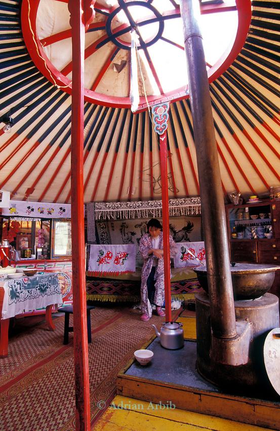 Inside a traditional Ger home,   Outer Mongolia.  Tsataan Uul.