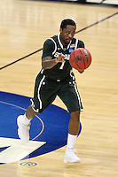 Michigan State Spartans guard Kalin Lucas #1 passes during the second round game of the NCAA Basketball Tournament at St. Pete Times Forum on March 17, 2011 in Tampa, Florida.  UCLA defeated Michigan State 78-76.  (Mike Janes/Four Seam Images)
