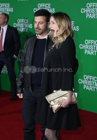 WESTWOOD, CA - DECEMBER 07: Jimmy Kimmel, Molly McNearney arrive at the premiere of Paramount Pictures' 'Office Christmas Party' at Regency Village Theatre on December 7, 2016 in Westwood, California.  (Credit: Parisa Afsahi/MediaPunch).