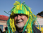 15 JUN 2010: A Brazil fan outside the stadium. The Brazil National Team played the North Korea National Team at Ellis Park Stadium in Johannesburg, South Africa in a 2010 FIFA World Cup Group G match.