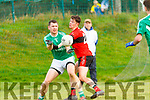 Sean Costello Ballyduff under pressure from Sean Carraig Tarbert in Moyvane on Sunday during the North Kerry Championship game.