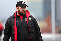Pictured: Head Coach Ceri Jones of Dragons during the pre match warm up for the Guinness Pro14 Round 17 match between the Dragons and Ulster Rugby at Rodney Parade, Newport, Wales, UK.<br /> Sunday 03 March 2019