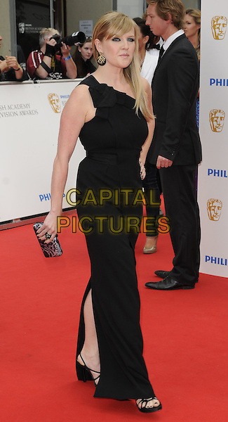 ASHLEY JENSEN .Attending the British Academy Television Awards (BAFTA) 2010, London Palladium theatre, London, England, UK, June 6th 2010..arrivals TV Baftas full length one shoulder black long maxi dress slit split side .CAP/CAN.©Can Nguyen/Capital Pictures.