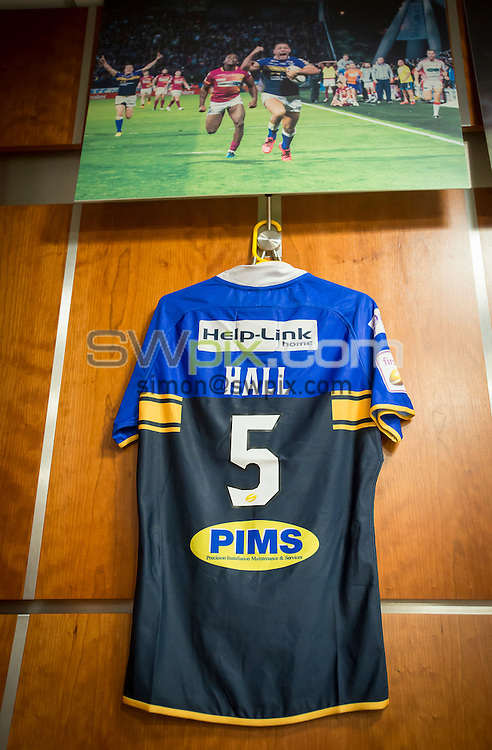 Picture by Allan McKenzie/SWpix.com - 10/10/2015 - Rugby League - First Utility Super League Grand Final - Leeds Rhinos v Wigan Warriors - Old Trafford, Manchester, England - Ryan Hall, shirt, dressing room.
