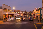 A full moon rises over downtown Ione, Calif., during Christmas