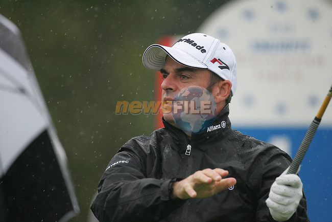 Paul McGinley tees off on the 1st hole to start his first round of the Smurfit Kappa European Open at The K Club, Strffan,Co.Kildare, Ireland 5th July 2007 (Photo by Eoin Clarke/NEWSFILE)