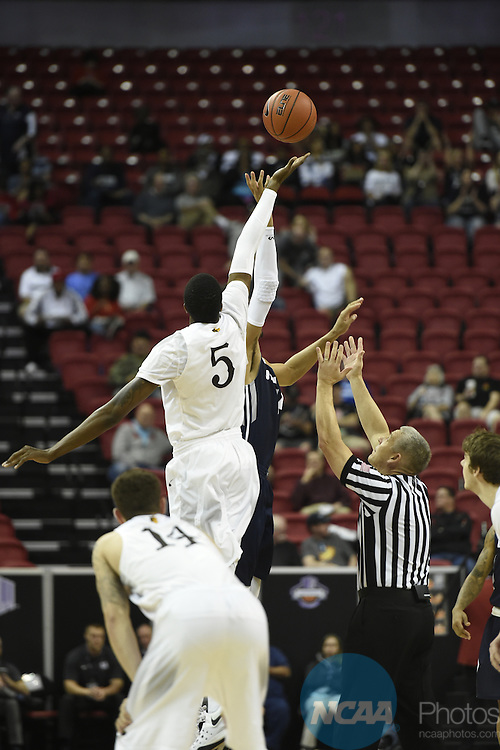 09 MAR 2016: Utah State University takes on University of Wyoming during the 2016 Mountain West Conference Men's Basketball Championship at the Thomas & Mack Center in Las Vegas, NV. Steve Nowland/NCAA Photos