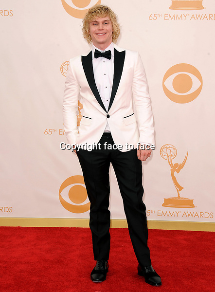 Evan Peters arrives at the 65th Primetime Emmy Awards at Nokia Theatre on Sunday Sept. 22, 2013, in Los Angeles.<br /> Credit: MediaPunch/face to face<br /> - Germany, Austria, Switzerland, Eastern Europe, Australia, UK, USA, Taiwan, Singapore, China, Malaysia, Thailand, Sweden, Estonia, Latvia and Lithuania rights only -