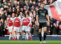 Burnley's Charlie Taylor cuts a dejected figure after Arsenal go 2-0 ahead<br /> <br /> Photographer David Shipman/CameraSport<br /> <br /> The Premier League - Arsenal v Burnley - Saturday 22nd December 2018 - The Emirates - London<br /> <br /> World Copyright © 2018 CameraSport. All rights reserved. 43 Linden Ave. Countesthorpe. Leicester. England. LE8 5PG - Tel: +44 (0) 116 277 4147 - admin@camerasport.com - www.camerasport.com