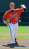 Clemson pitcher Ryan Hinson (45) in a game between the Clemson Tigers and Mercer Bears on Feb. 23, 2008, at Doug Kingsmore Stadium in Clemson, S.C. Photo by: Tom Priddy/Four Seam Images