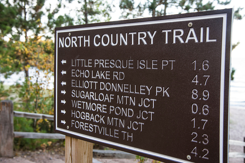 A sign for the North Country Trail at Wetmore Landing near Marquette, Michigan.