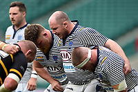 The Cheshire front row of Daniel Matthews, Neil Briggs and Brendan Berry pack down for a scrum. Bill Beaumont County Championship Division 1 Final between Cheshire and Cornwall on June 2, 2019 at Twickenham Stadium in London, England. Photo by: Patrick Khachfe / Onside Images