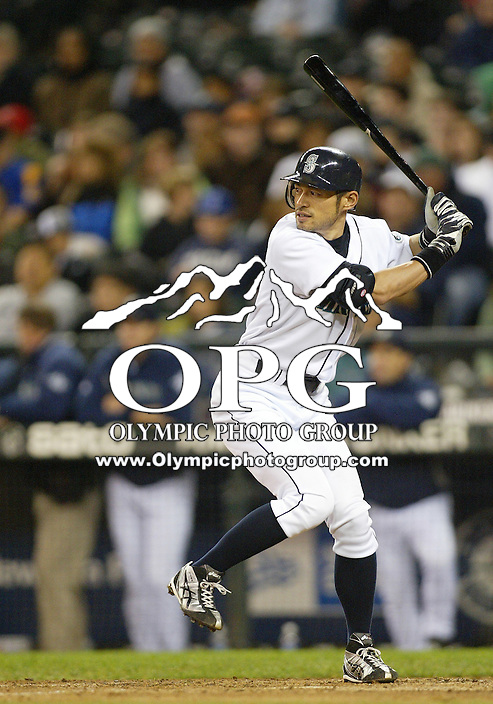 29 September 2009: Right fielder #51 Ichiro Suzuki sets up in the batters box against the Oakland A's. Seattle won 6-4 over the Oakland A's at Safeco Field in Seattle, Washington.