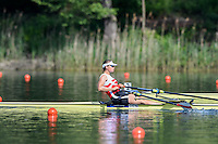 Lucerne, SWITZERLAND<br /> <br /> DEN W1X. Fie udby ERICHSEN. moves away from the start pontoon at the 2016 European Olympic Qualifying Regatta, Lake Rotsee.<br /> <br /> Sunday  22/05/2016<br /> <br /> [Mandatory Credit; Peter SPURRIER/Intersport-images]