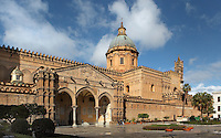 16th century portico by Domenico and Antonello Gagini with 18th century dome in the background, the Duomo (Cathedral) of Palermo, Sicily, Italy. 12th century cathedral encompassing a wide variety of architectural styles from Romanesque to Byzantine. Picture by Manuel Cohen