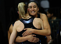 Maria Tutaia (right) hugs Katrina Grant after winning the Taini Jamieson Trophy Series netball match between the New Zealand Silver Ferns and England Roses at Claudelands Arena in Hamilton, New Zealand on Wednesday, 13 September 2017. Photo: Dave Lintott / lintottphoto.co.nz