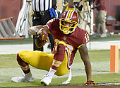 Washington Redskins wide receiver Josh Doctson (18) gets up after scoring a touchdown in the third quarter against the Oakland Raiders at FedEx Field in Landover, Maryland on Sunday, September 24, 2017.  The Redskins won the game 27-10.<br /> Credit: Ron Sachs / CNP