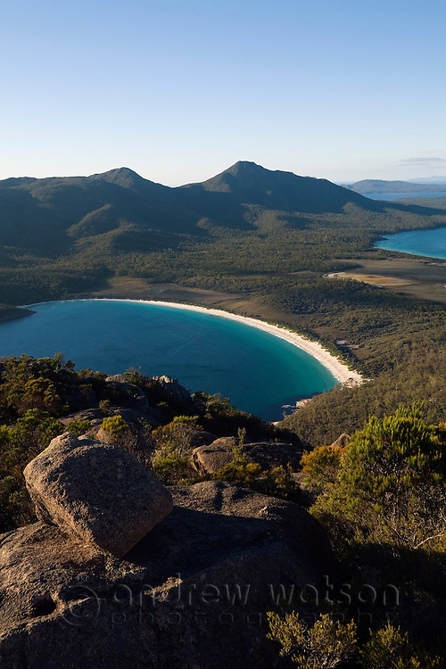 View of Wineglass Bay from Mt Amos.  Freycinet National Park, Tasmania, AUSTRALIA