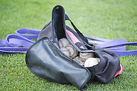A bag full of baseballs sits at the end of batting practice as the Salt Lake Bees prepared to play the Sacramento River Cats in Pacific Coast League action at Smith's Ballpark on April 20, 2015 in Salt Lake City, Utah.  (Stephen Smith/Four Seam Images)