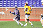 Matt Thistle (8) of the High Point Panthers keeps the ball away from Zach Esser (50) of the UMBC Retrievers during first half action at Vert Track, Soccer & Lacrosse Stadium on March 15, 2014 in High Point, North Carolina.  The Panthers defeated the Retrievers 17-15.   (Brian Westerholt/Sports On Film)
