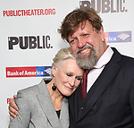 """Glenn Close and Oskar Eustis attends the Opening Night Celebration for """"Mother of the Maid"""" on October 18, 2018 at the Public Theatre in New York City."""