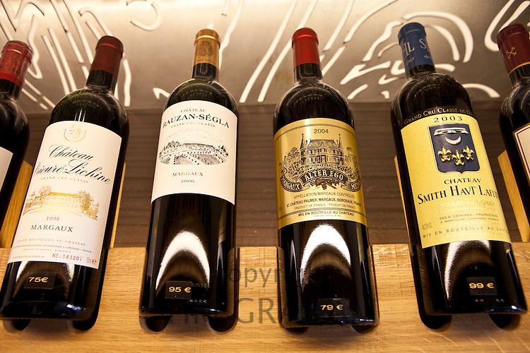 Fine wines Chateau Prieure Lichine, Chateau Smith Haut Lafite, Chateau Rauzan-Segla and Alter Ego at Vignobles et Chateaux wine merchant in St Emilion, Bordeaux, France