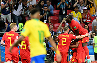 KAZAN - RUSIA, 06-07-2018: Jugadores de Bélgica celebran después FERNANDINHO jugador de Brasil anotara un gol en su propio arco durante partido de cuartos de final por la Copa Mundial de la FIFA Rusia 2018 jugado en el estadio Kazan Arena en Kazán, Rusia. / Players of Belgium celebrate after FERNANDINHO player of Brazil scored in his own arc a goal during match of quarter final for the FIFA World Cup Russia 2018 played at Kazan Arena stadium in Kazan, Russia. Photo: VizzorImage / Julian Medina / Cont
