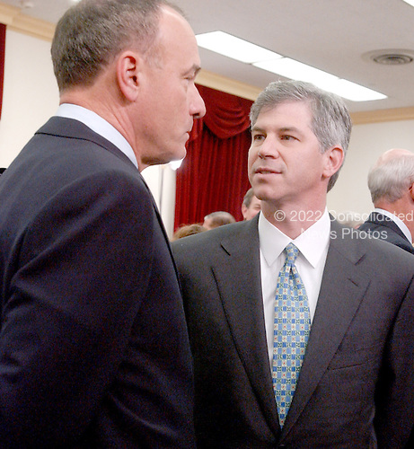 "Washington, DC - February 7, 2002 -- Andrew S. Fastow speaks with his attorney during a break in the hearing of the United States House of Representatives Energy and Commerce Subcommittee on Oversight and Investigations on ""The Financial Collapse of the Enron Corporation""..Credit: Ron Sachs / CNP"