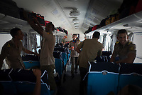 HAVANA, CUBA - JULY14: Cadets get in a new train at La Coubre station, from Havana to Santiago de Cuba, on July13, 2019. The first train start working for the cuban passenger to Santiago de Cuba, 516 miles. The new equipment made in China. (Photo by Eliana Aponte/VIEWpress)