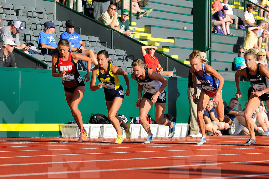 The University of Michigan Women's track and field team's compete on the first day of the 2014 Outdoor NCAA Track and Field Championships at Hayward Field. Eugene, OR. June 11, 2014
