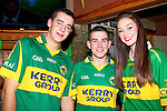 MATCH: Michael Horan,Damien Cremins and Aisling O'Connell (Castleisland) just arrived at Tom Mc Carthy's Bar,Castleisland on Sunday to watch the All Ireland Football Finals between Kerry and Donegal.