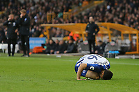 Alireza Jahanbakhsh of Brighton & Hove Albion stays down injured Alireza Jahanbakhsh of Brighton & Hove Albion stays down injured during Wolverhampton Wanderers vs Brighton & Hove Albion, Premier League Football at Molineux on 7th March 2020