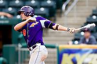 Eric Stamets (8) of the Evansville Purple Aces follows through his swing during a game against the Missouri State Bears at Hammons Field on May 12, 2012 in Springfield, Missouri. (David Welker/Four Seam Images).